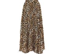 Katz Pleated Leopard-print Silk-blend Chiffon Maxi Skirt Animal Print
