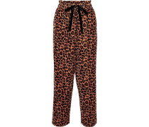 Gart Leopard-print Velvet Straight-leg Pants Light Brown