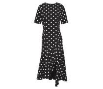 Woman Draped Polka-dot Wool-blend Crepe Midi Dress Black