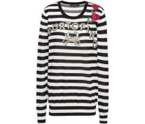 Embellished Striped Cashmere And Silk-blend Sweater Black