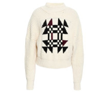 Cotton-blend Jacquard Sweater Ivory
