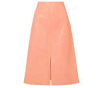 Woman Ostrich-effect Leather Midi Skirt Peach