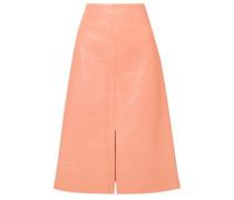 Woman Ostrich-effect Leather Midi Skirt Peach