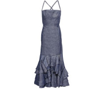 Ruffled Linen-blend Chambray Maxi Dress Indigo