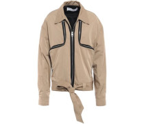 Woman Zip-detailed Shell Bomber Jacket Light Brown