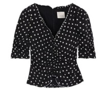 Kimberly Cropped Ruched Polka-dot Silk-georgette Blouse Black