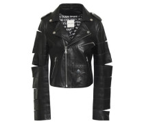 Cutout Leather Biker Jacket Black