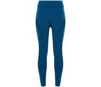 Woman Warp Knit Mesh-trimmed Stretch Leggings Cobalt Blue