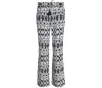 Printed silk crepe de chine bootcut pants