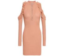 Cold-shoulder Ribbed Cotton-blend Mini Dress Sand
