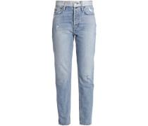 Distressed High-rise Slim-leg Jeans Light Denim  5