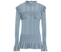 Ruffle-trimmed pointelle-knit sweater