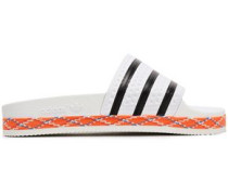 Woman Adilette New Bold Striped Embossed Rubber Slides White