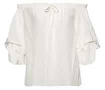 Woman Georganne Off-the-shoulder Ruffled Silk Top Ivory