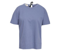 Bow-detailed Cotton-jersey T-shirt Lavender