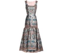 Satin-paneled metallic-jacquard gown