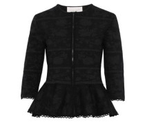 Metallic Wool-blend Jacquard Peplum Jacket Black