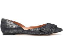 Bow-embellished metallic brushed-leather point-toe flats