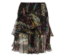 Ruffled floral-print metallic silk-blend chiffon mini skirt