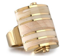 Gold-tone, wood and acrylic ring