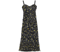 Woman Ruched Floral-print Silk-voile Dress Black