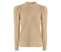 Metallic Cable-knit Sweater Sand