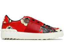 Studded Printed Leather Sneakers Red
