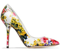 Floral-print leather pumps