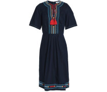 Pleated Embroidered Cotton-poplin Dress Navy