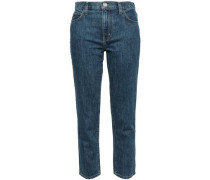 Cropped High-rise Slim-leg Jeans Dark Denim  5