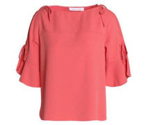 Bow-detailed crepe top