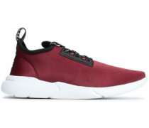 Embroidered Grosgrain-trimmed Scuba Sneakers Plum