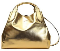 Metallic Faux Leather Tote Gold Size --