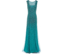 Assana Open-back Beaded Tulle Gown Teal Size 12