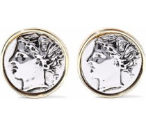 Embossed silver and gold-tone clip earrings