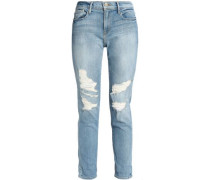Distressed mid-rise slim-leg jeans