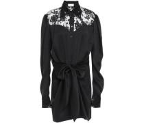 Hebei Lace-paneled Tie-front Silk-satin Mini Dress Black