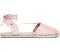 Lace-up Leather And Canvas Espadrilles Baby Pink