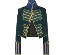 Cropped Button-embellished Wool Jacket Forest Green Size 12