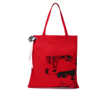 Printed Canvas Tote Red Size --