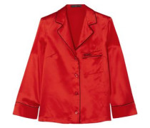Embroidered Silk-satin Shirt Red