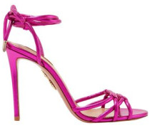 Metallic Leather Sandals Bright Pink