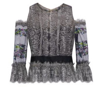 Cold-shoulder embroidered tulle-paneled metallic lace top