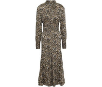 Belted Fluted Cady Midi Shirt Dress Animal Print