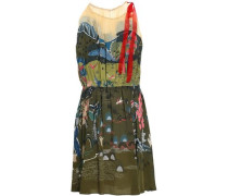 Bow-detailed Georgette And Printed Silk Crepe De Chine Mini Dress Army Green