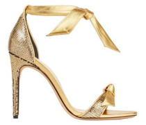 Knotted Metallic Snake-effect Leather Sandals Gold