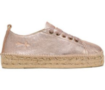 Lace-up Metallic Leather Espadrilles Rose Gold