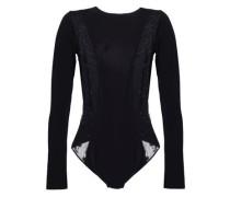 Cutout Stretch-jersey And Lace-paneled Bodysuit Black
