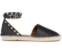 Rockstud Double Pebbled-leather Espadrilles Black