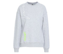 Embroidered Printed French Cotton-terry Sweatshirt Light Gray
